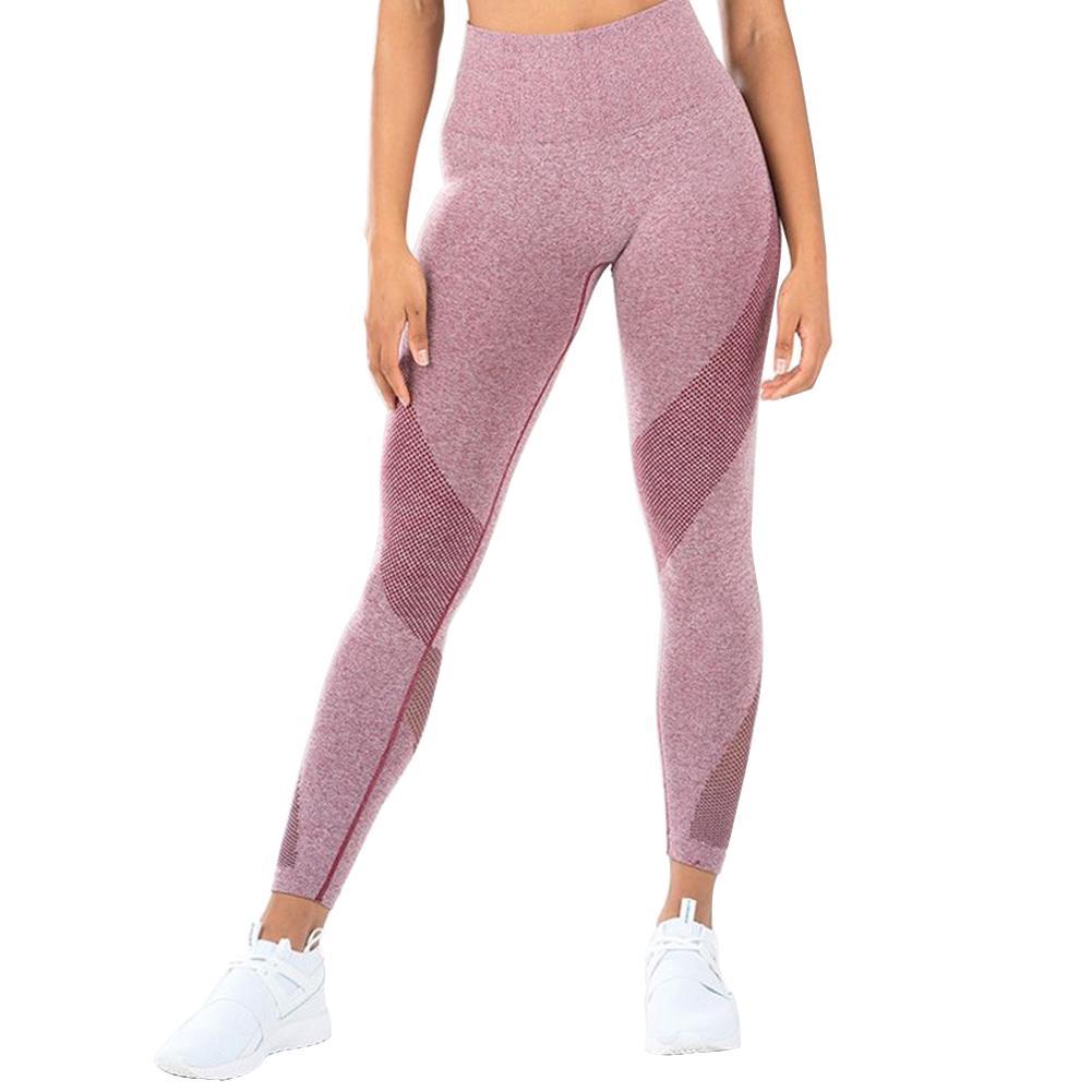 Mode Polyester Sexy Farbe Blockieren Hohe Taille Slim Fit Atmungsaktive Frauen Sport Hosen
