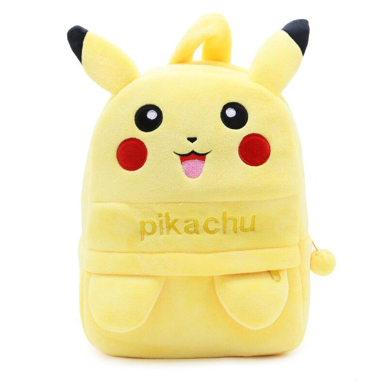 Children Cartoon School Backpack Pikachu Design Soft Plush Material For Toddler Baby Boys Kindergarten Kids Snacks School Bag