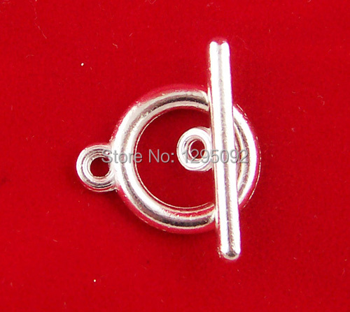 100Sets Wholesales Silver Plated Smooth Toggle Clasps Fit Bracelets / Necklaces Jewelry Making Charms Component 15mm