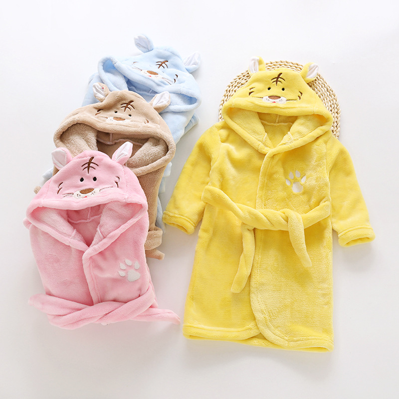 Kids Girls Night Gown Autumn/Winter Children Flannel Robe Pajamas Baby Boys Bathrobe Home Clothes Warming Sleepwear Cute Tiger