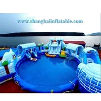Giant inflatable swimming pool amusement park inflatable water slide playground