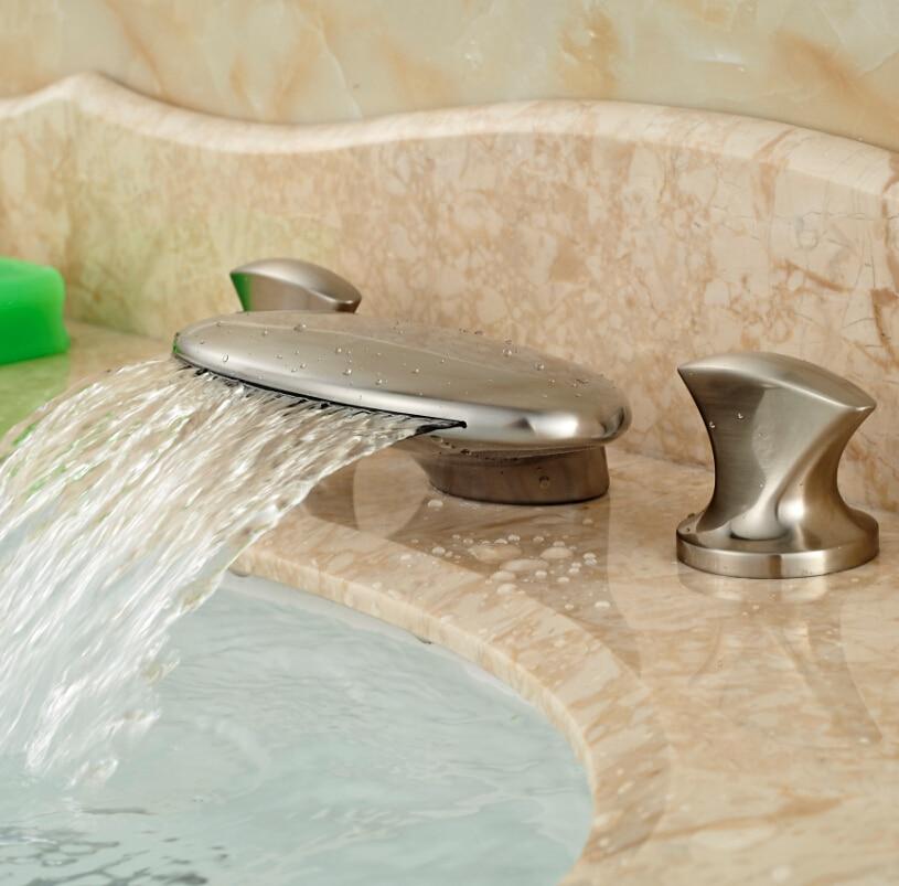 Widespread Dual Handles Bathroom Sink Mixer Faucet Brushed Nickel Waterfall Spout Bathroom Sink Water Taps waterfall spout bathroom sink faucet with double handles nickel brushed finished