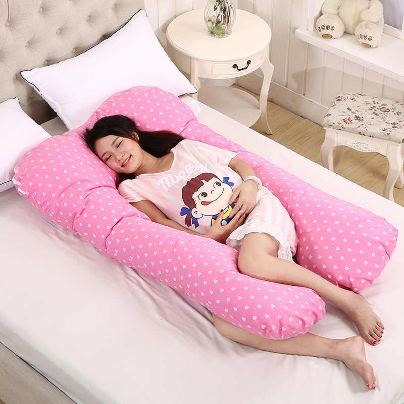 Подушка для сна для беременных женщин, хлопковая наволочка для тела, u-образные подушки для беременных, боковые шпалы для беременных, постельные принадлежности