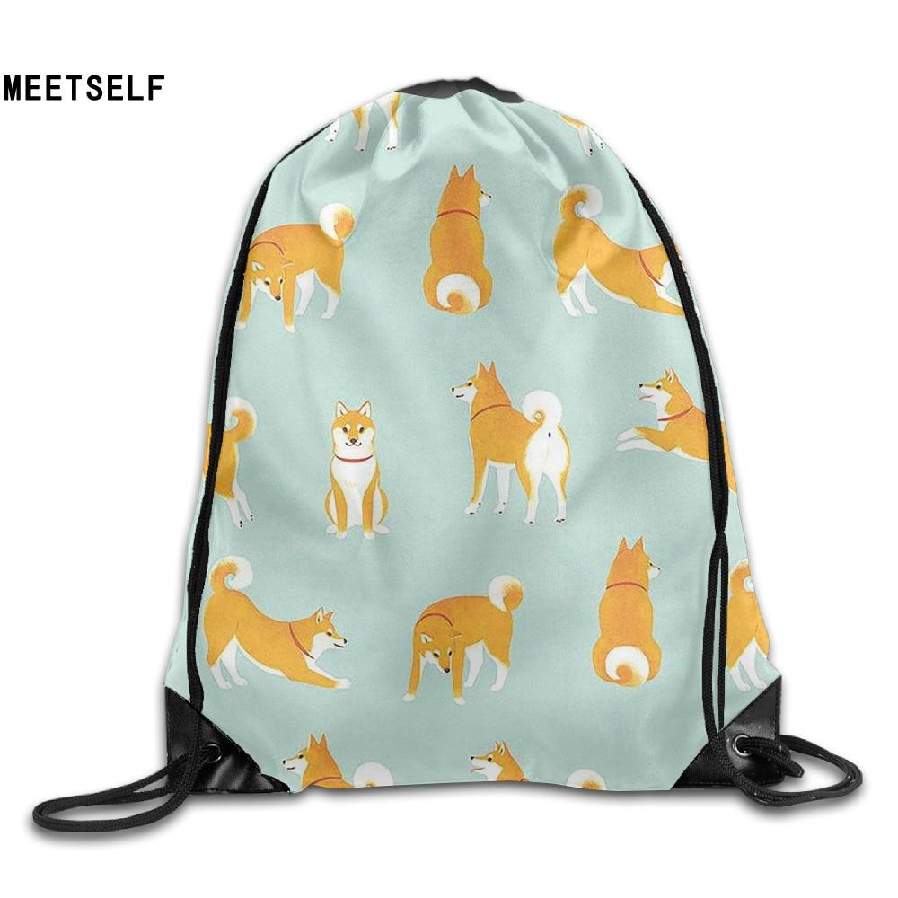 Samcustom 3d Print Cute Shiba Inu Shoulders Bag Women Fabric Backpack Girls Beam Port Drawstring Travel Shoes Dust Storage Bags