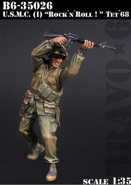 Scale Models 1/ 35 soldier U.S.M.C. Rock n Roll!, Tet 68 Vietnam soldier figure Historical Resin Model image