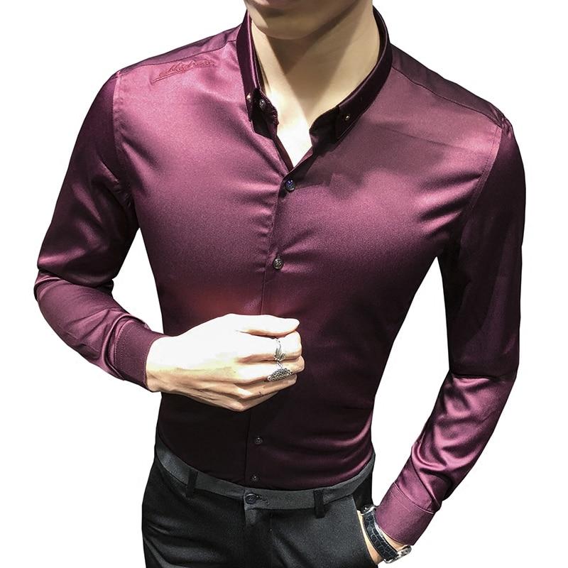 Loldeal Men's Slim Fit Silk Like Satin Luxury Dress Shirt Silk Long Sleeve Button-Down Shirt Formal Work Silky Blouse Top