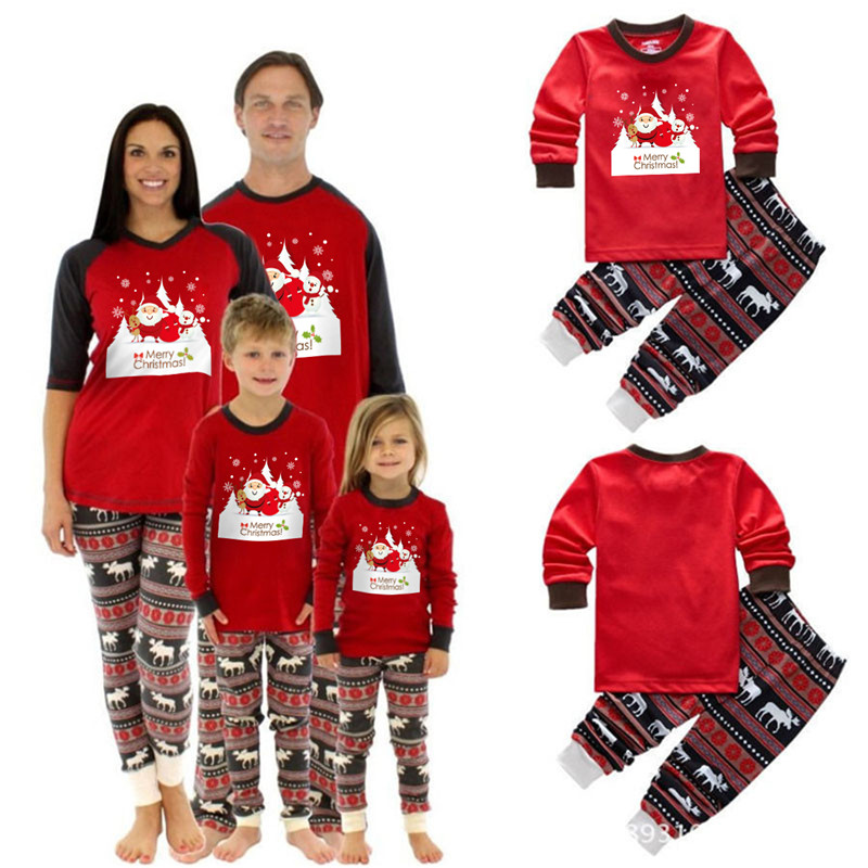 CANIS Family Matching Xmas Christmas Pajamas Print Adult Women Kids Sleepwear Nightwear Baby Boy Girl Clothes Set Long Sleeve цена 2017