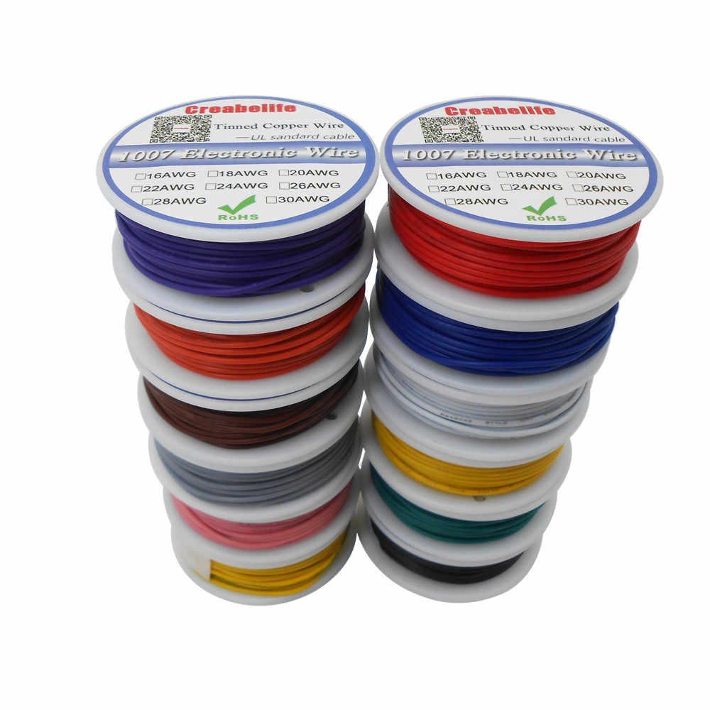 Paquet de bobine de fil électrique 5m/ UL 1007 18AWG 12 couleurs | Ligne de câble de fil électrique, ligne de câble en cuivre chromé PCB, fil RoHS