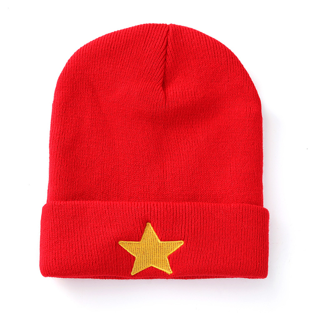 a1f6addbf34 Women Men Fashion Winter Autumn Warm Beanie Hat Unisex Star Embroidery  Knitted Caps Cotton Snow Ski Crochet Hats Casual Bonnet