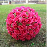 60 CM/23 Artificial Flower Rose Silk Kissing Balls Huge Size Flowers Ball For Christmas Ornaments Wedding Party Decoration