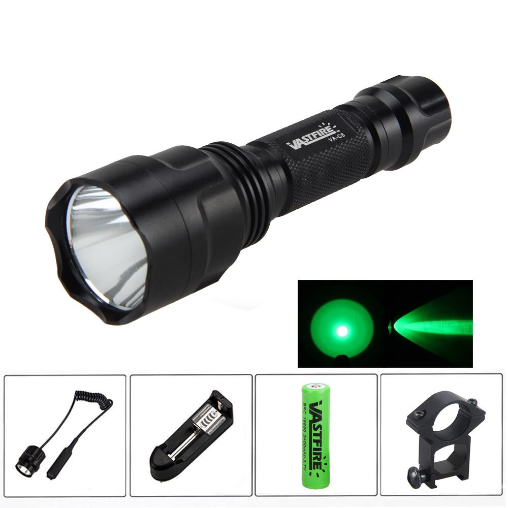 VASTFIRE 4000lm Q5 GREEN LED FLASHLIGHT+Rifle Mount For Gun+Remote Switch +battery