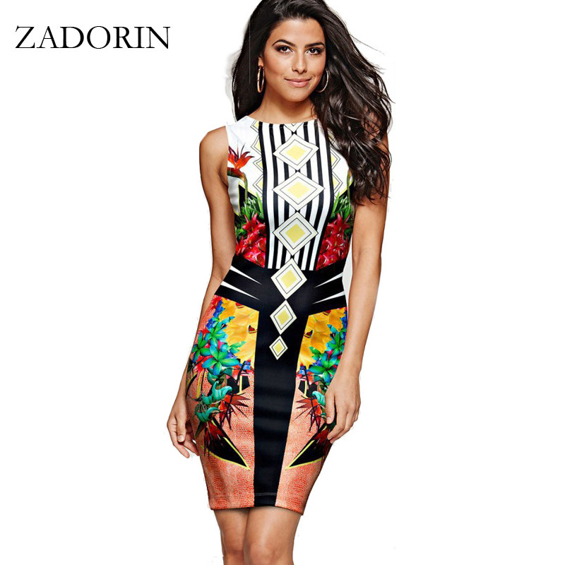 2017 Europe Fashion Floral Sleeveless Bodycon Pencil Dress Women Plus Size Casual Summer Dress Sexy Club Dresses womens clothing summer casual bodycon dresses