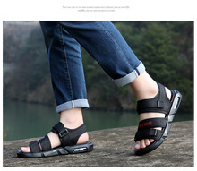 2019 summer artificial mesh Roman mens sandals thick-soled open toe beach