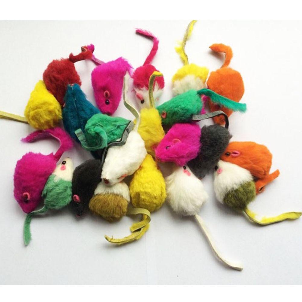 10Pcs/lot soft Artificial rabbit fur false mouse toys for cats(China)