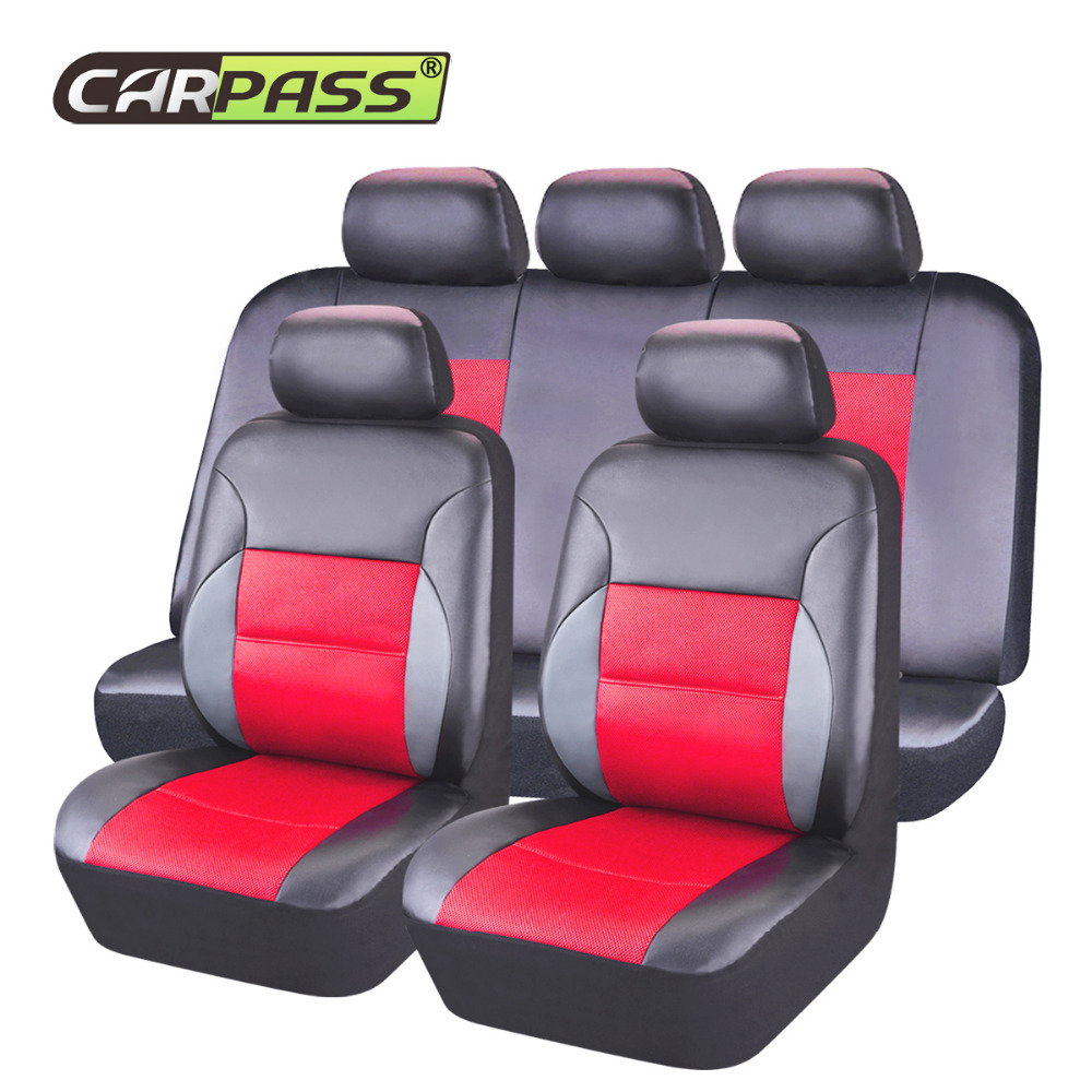 Car-pass  Pu Leather Auto Seat Cover universal Beige/ Pink /Black/Red Car Seat Covers Full Sets For Toyota Mazada Nissan Hyundai car rear trunk security shield cargo cover for volkswagen vw tiguan 2016 2017 2018 high qualit black beige auto accessories