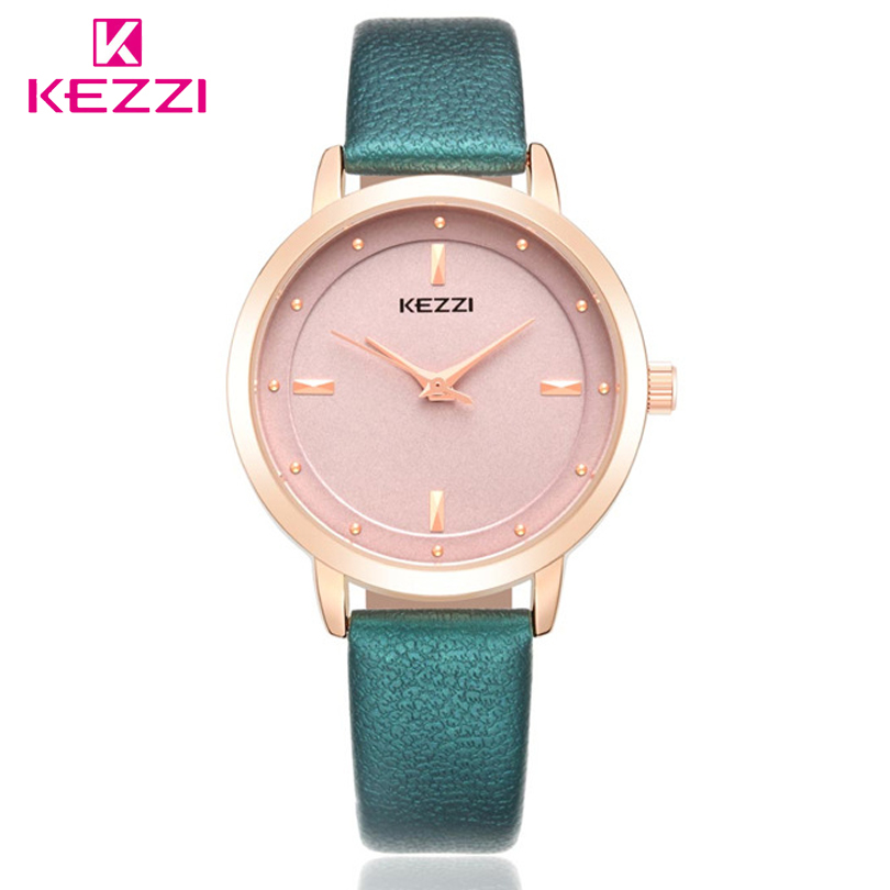 KEZZI High Quality Fashion Leather Strap Rose Gold Women Watch Casual Quartz Wrist-Watch Women Dress Ladies Watches Gift Clocks fashion casual watch women waterproof quartz analog high quality leather wrist watches camellia rose flower women s watches