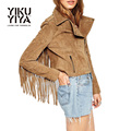 YIKUYIYA Spring Coat 2017 Turn-down Collar Long Sleeve Tassel Coat Solid Camel Suede Short Jacket Slim Fringe Punk Style Jacket