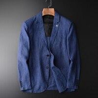 Minglu New Arrival Linen Blazer Man New Linen Suit Jacket Spring Autumn Casual Male Single Breasted Blazer Plus Size M 4XL