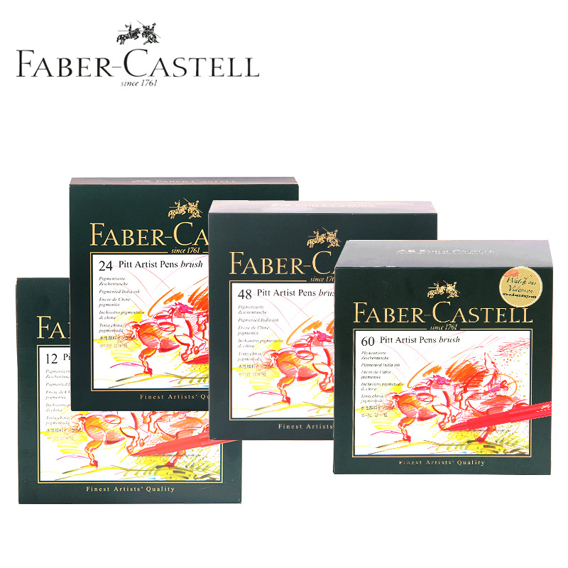 Faber-Castell Pitt Artist Brush Drawing Pens Animation Fineliner Marker 12/24/48/60 colors Water Based Soft Calligraphy Markers