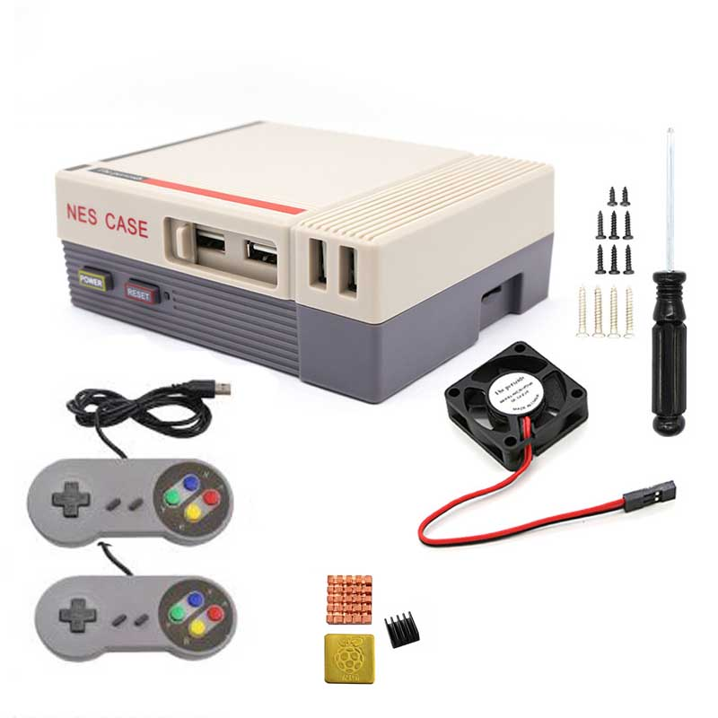 Raspberry Pi  NES NESPI CASE Retroflag Case With Cooling Fan Designed +heat Sink+Gamepad For Raspberry Pi 3 / 2 / B+