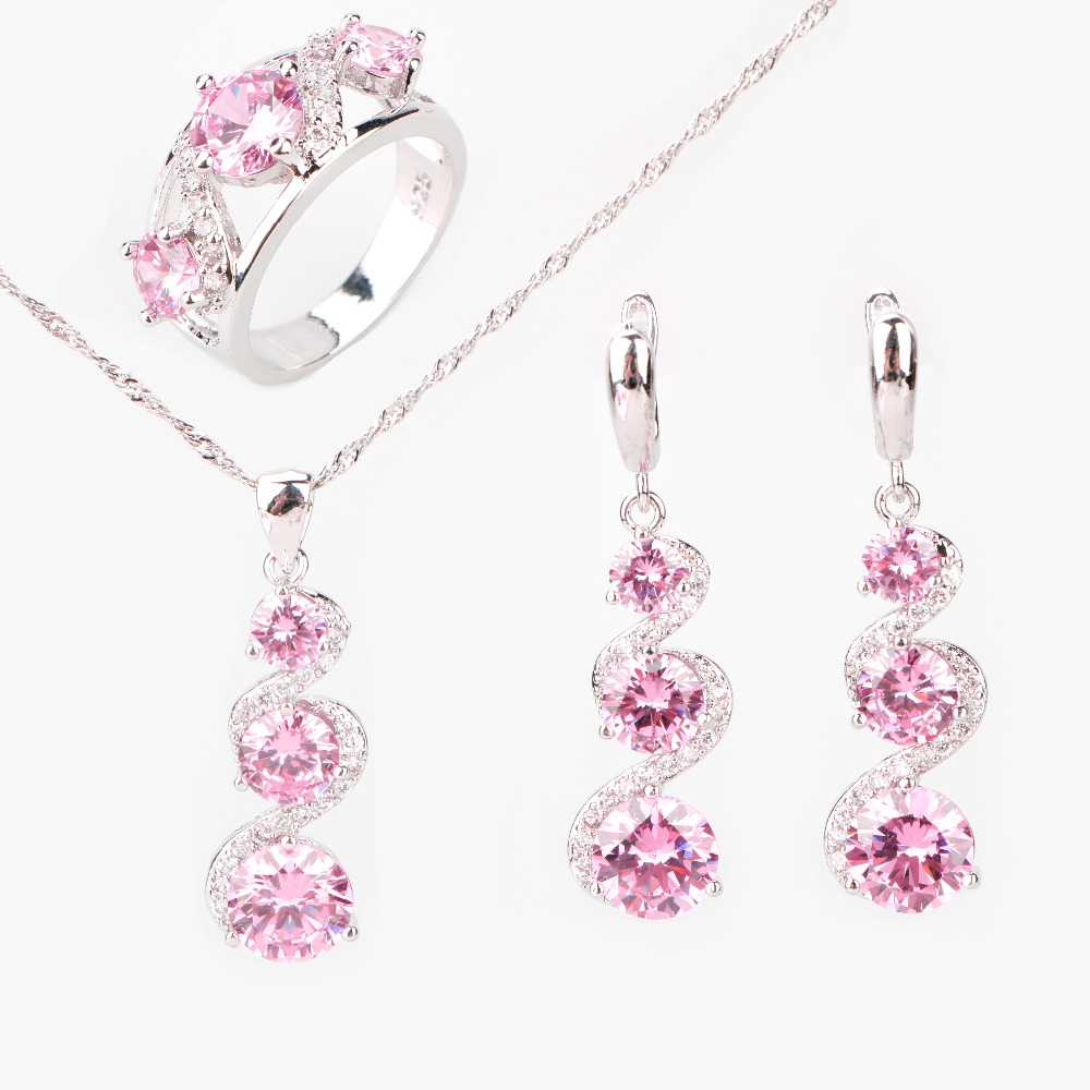 все цены на Round Pink Zircon 925 Sterling Silver Jewelry Sets Women Earrings With Stones Pendants&Necklaces Rings Set Jewellery Gift Box