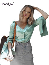 OOTN Split Long Sleeve Satin Blouse Women Pocket Top Female Silk Casual Shirts V Neck Blouse Autumn Winter Chemise Green 2019(China)