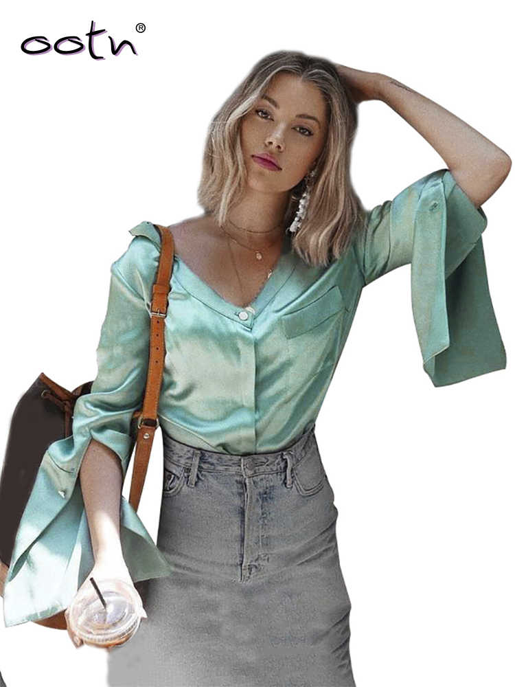 OOTN Split Long Sleeve Satin Blouse Women Pocket Top Female Silk Casual Shirts V Neck Blouse Autumn Winter Chemise Green 2019