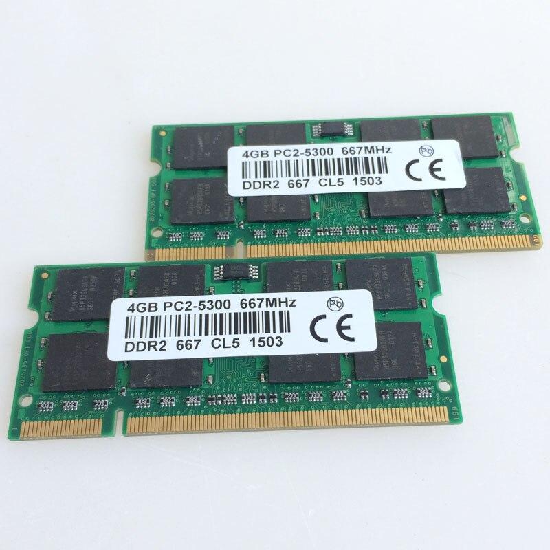 2x4 GB PC2-5300S DDR2-667 667 Mhz DDR2 Ordinateur Portable Mémoire CL5.0 SODIMM RAM Portable Non-Ecc 200pin 2RX16 faible densité