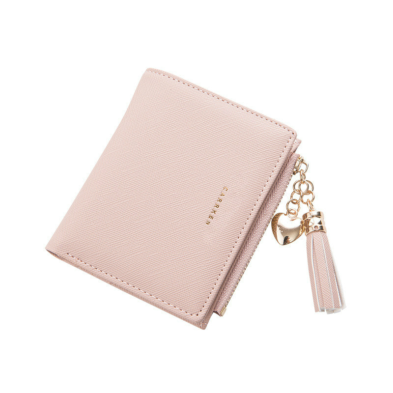 2018 Tassel Women Wallet Small Cute Wallet Women Short Leather Women Wallets Zipper Purses Portefeuille Female Purse Clutch(China)