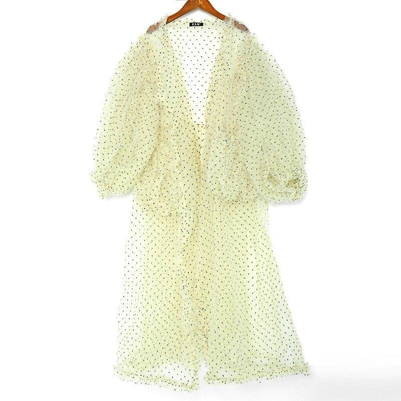 LANMREM 2019 Spring Summer Large Lantern Sleeve Sunscreen Cardigan For Women Dot Mesh Transparent Double Pocket