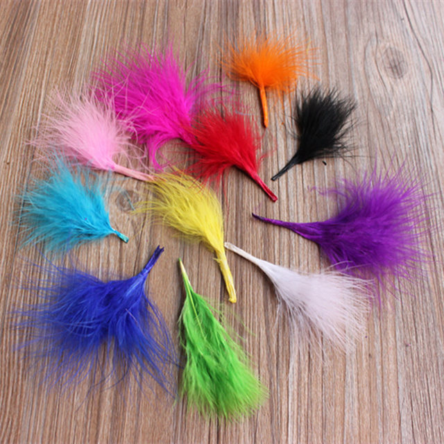 Cheap For Sale 50pcs Diy Dyed Fluffy Turkey Feather Colorful Wedding