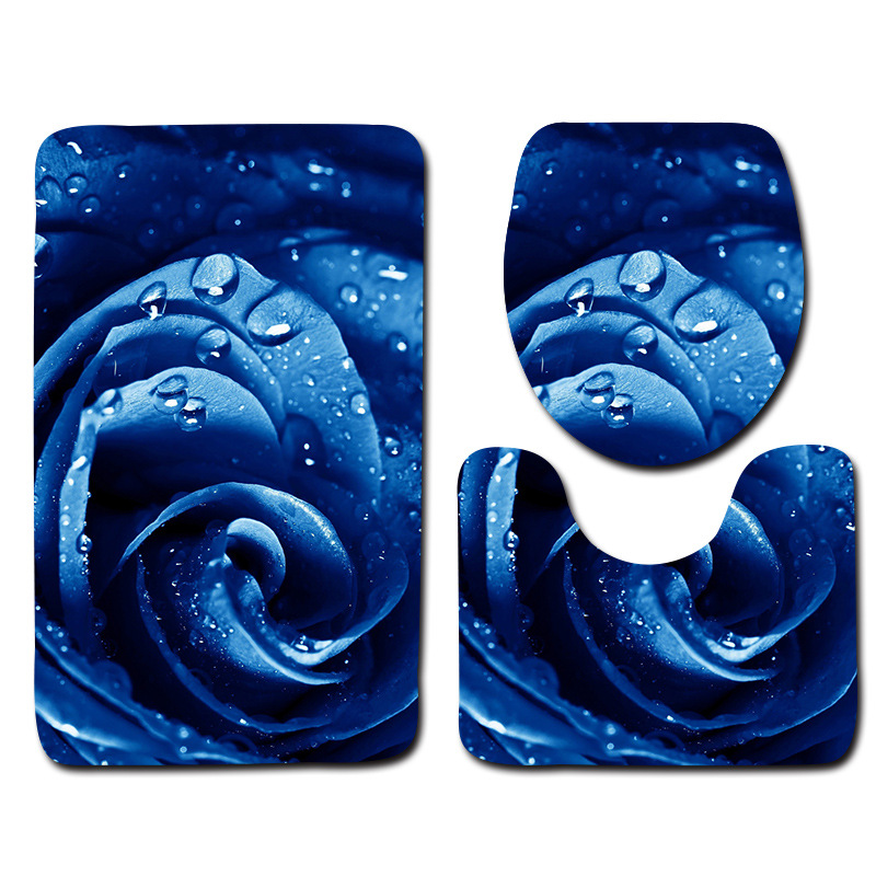 Honlaker Rose Bathroom Mat Soft Flannel Bath Toilet Mat Non-slip Absorbent Bath Rug Set Bathroom Carpet 3Pcs