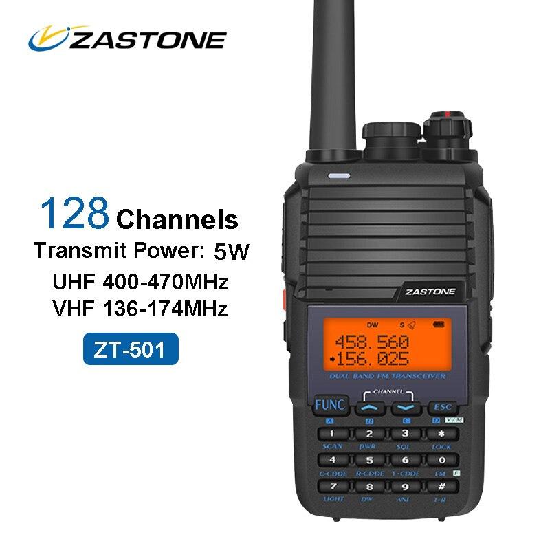 ZASTONE 501 Portable Talkie Walkie 5 W UHF VHF 136-174 MHz/400-470 MHz 128CH 1800 mAh Amateur Radio Communicateur FM Émetteur-Récepteur