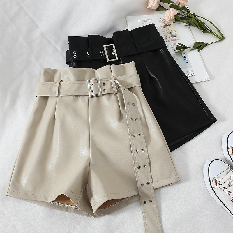 Fashion High Waist PU Leather   Shorts   For Women Black Sashes Wide Leg   Shorts   2019 Spring Autumn Femme Streetwear Leather   Shorts