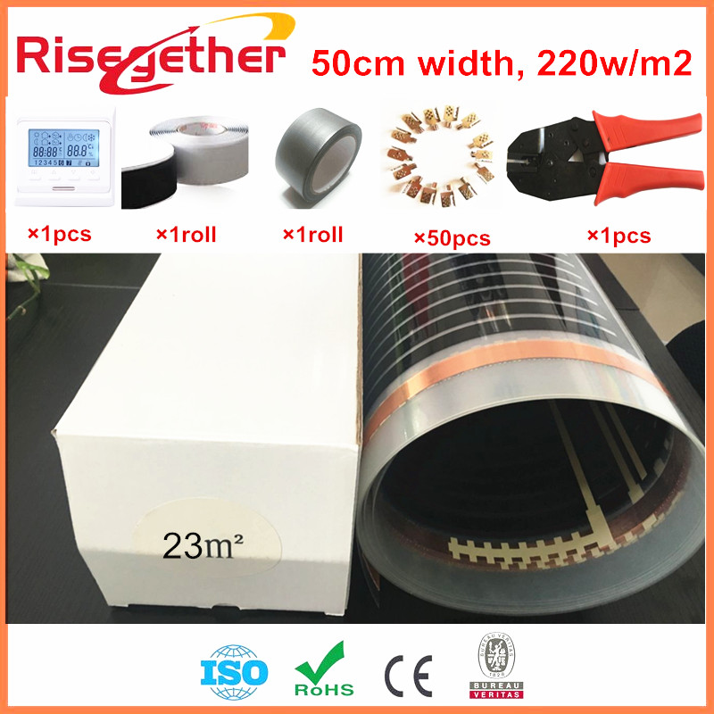 Electric Heating Film With Clamps Thermostat In Under Floor Heating System 23m2 Free Shipping Carbon Infrared Heating Films ce emc lvd fcc domestic water purifier ozone with high quality