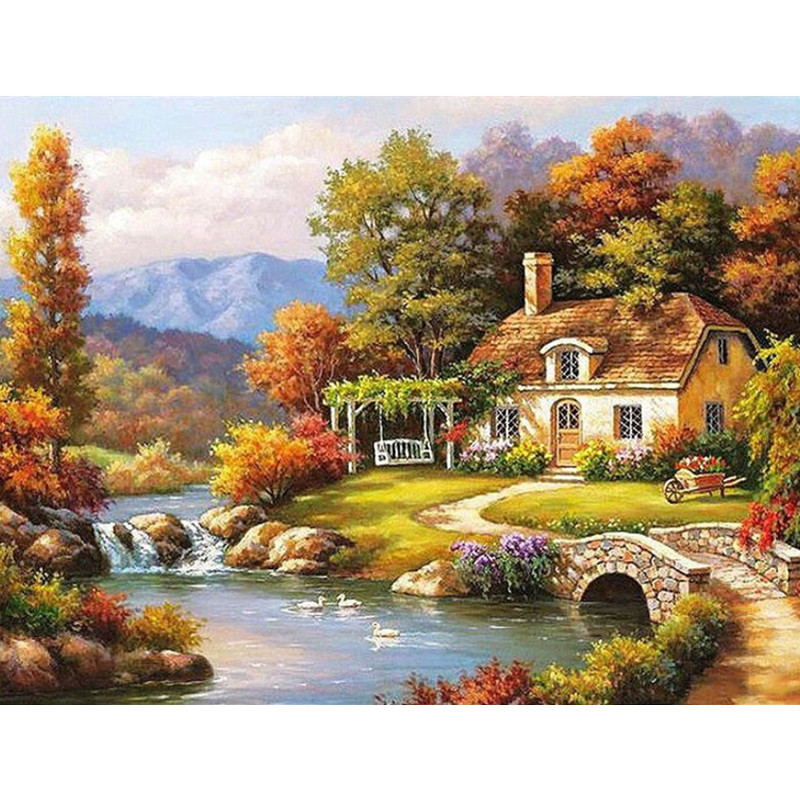 Landscape Framed Pictures DIY Painting By Numbers Wall Art Acrylic Painting On Canvas Drop Shipping For Wedding Decor GX6263