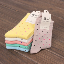 3pairs/pack Simple Fashion Pure Cotton Socks Autumn And Winter Hot Small Dot Print In Tube Socks Female Models Cotton Hosiery