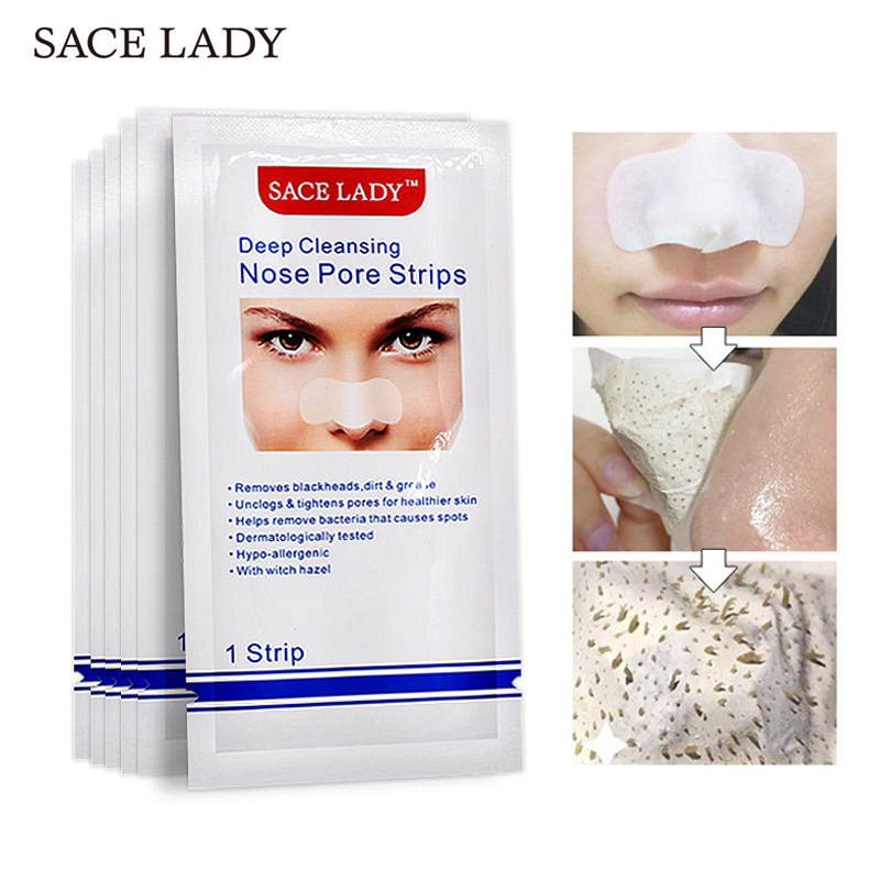 SACE LADY 5pcs Blackhead Remover Nose Strips Deep Cleansing Nasal Spot Facial Dot Sticker Sheet Black Mask Shill Acne Head