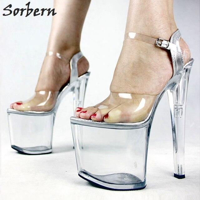 5ef8f5df3 Sorbern 20 cm Fetiche Sexy Transparente sapatos de Salto Alto Sapatos de Verão  Sandálias Plataforma Mulheres