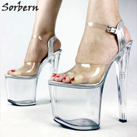 Sorbern Sexy Transparent High Heels 20Cm Fetish Shoes Summer Sandals Women Platform 9Cm Open Toe Ankle