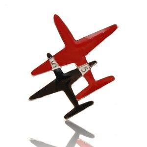 Модная брошка CC Plane, красные, черные, эмалированные золотые булавки для женщин