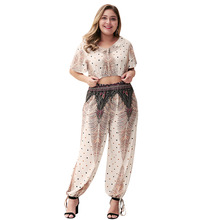WHZHM Summer Ruffles Plus Size 3XL 4XL Sets Women Loose Printed Two PCS V-Neck Crop Tops and Full Lantern Trousers Sets Ladies