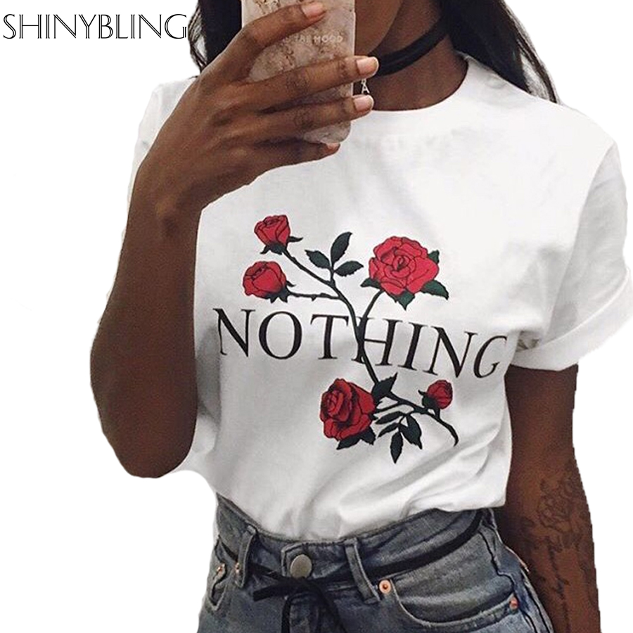Harajuku Fashion Women T Shirt Summer Street Style Letter Floral Printed Nothing Rose Tee Shirts Short
