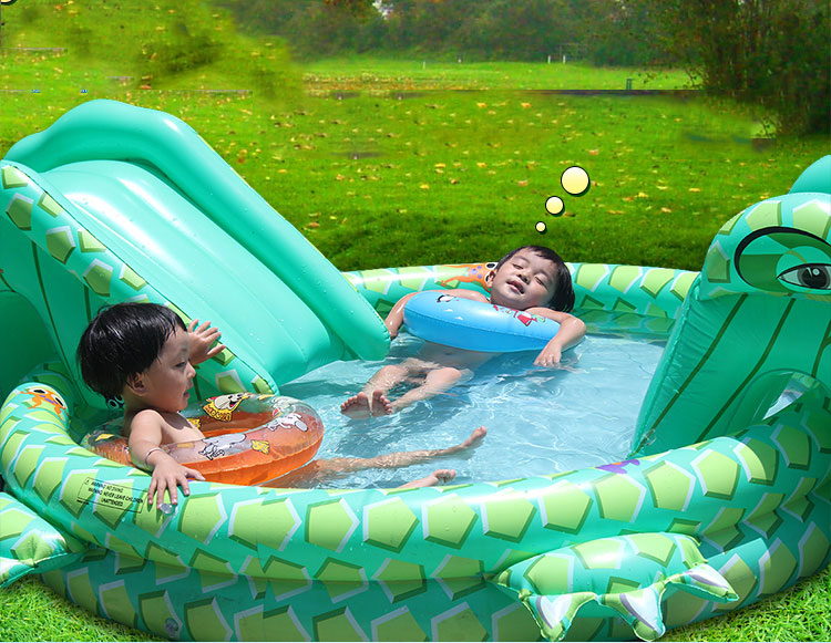 Outdoor Toys Mini Inflatabal PVC Plastic Cartoon BABY Swimming Pool Funny Playing Kit Children Toy W/ Slides Air Pump Fix Pack