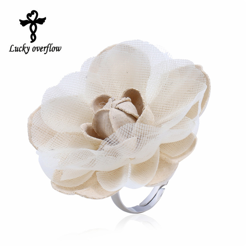 2017 Fashion Cute Romantic Style Stainless Steel Rings For Women Fabric White Big Flower Ring Engagement Ring Christmas Jewelry