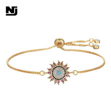 NJ Sun Flower Design Zirconia High Quality Female Bracelet Charming Adjustable Women Gold Silver Chain Jewelry Gift