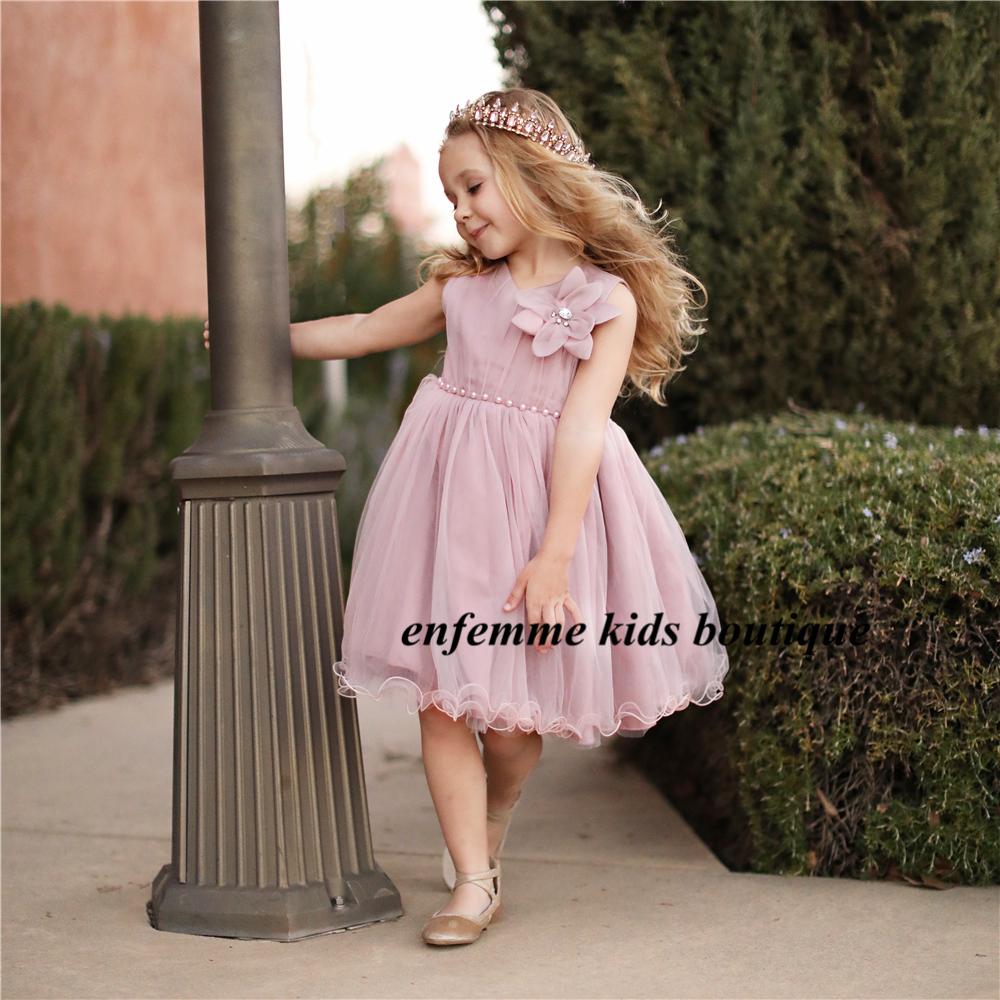 2018 New Arrival Baby Pink Ball Gowns With Flowers High Quality Grey