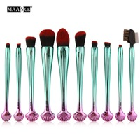 MAANGE 10pcs Shell Cosmetic Makeup Brushes Set Foundation Power Contour Eye Shadow Brow Blending Beauty Make