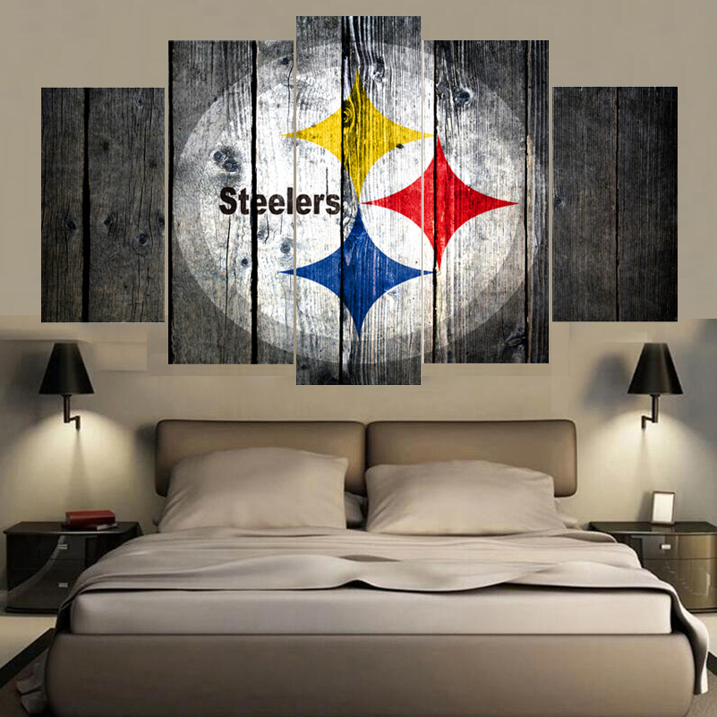 Sport Pittsburgh Steelers Logo Print Painting Wall Art Modular Picture  Canvas Paintings For Living Room Bedroom