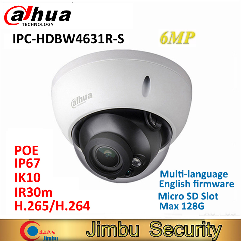 Dahua IPC-HDBW4631R-S 6MP IP Dome Camera H.265 support POE SD slot IR30m IK10 IP67 cctv WDR camera multi-language dahua ip camera 6mp poe ipc hdbw4631r s support sd slot ir30m ik10 ip67 cctv camera english firmware